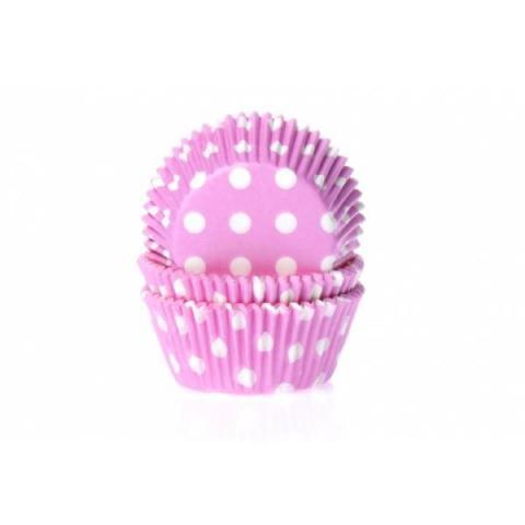 House of Marie Cupcakevormpjes Stip - Roze 50 stuks