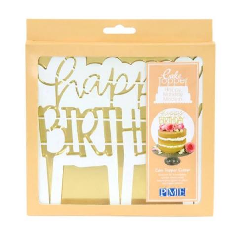 PME Caketopper uitsteker - Happy Birthday Modern