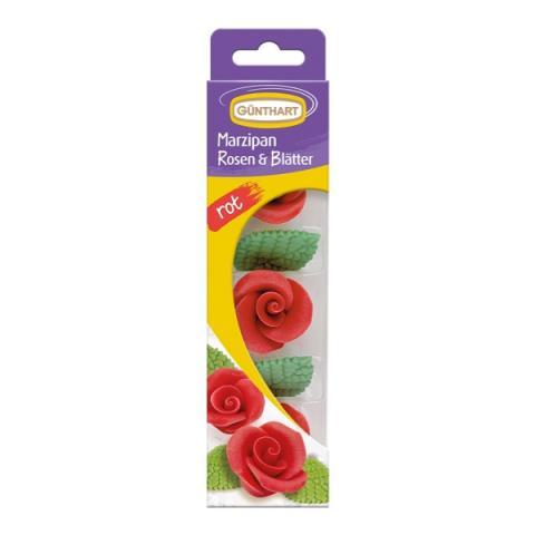 Günthart Marsepein rozen met blaadjes - Rood
