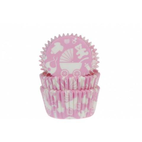 House of Marie Cupcakevormpjes Baby uitzet - Roze 50 stuks