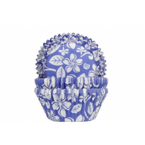 House of Marie Cupcakevormpjes Aloha bloem - Blauw 50 stuks
