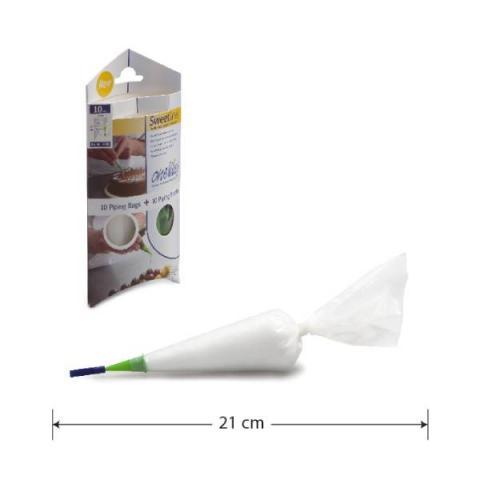 One Way Plastics Wegwerp spuitzakken Sweetliner - 21x12 cm 10 stuks met 10 spuitmondjes