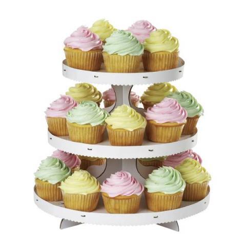 Wilton Cupcake Etagère 3-laags met rand - Wit